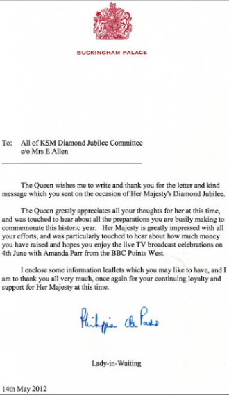 Letter from Buckingham Palace 14.05.12