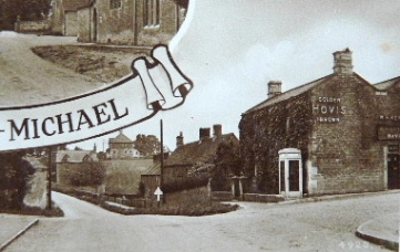 Postcard showing the original position of the phone box