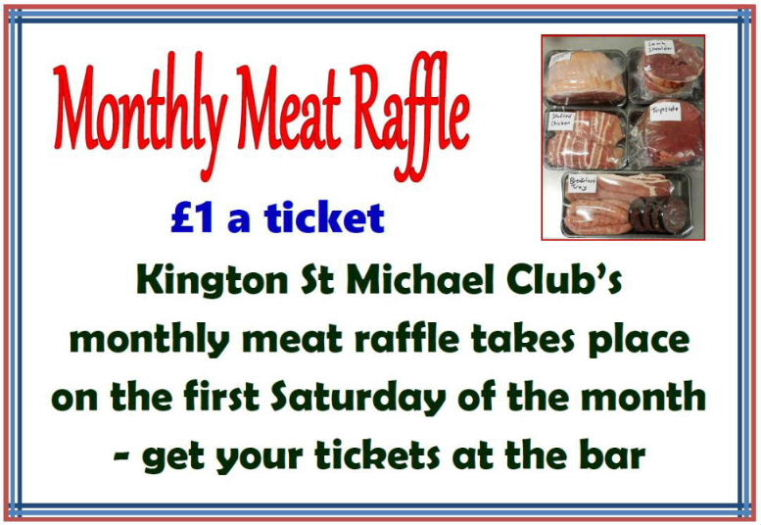 Meat raffle sign