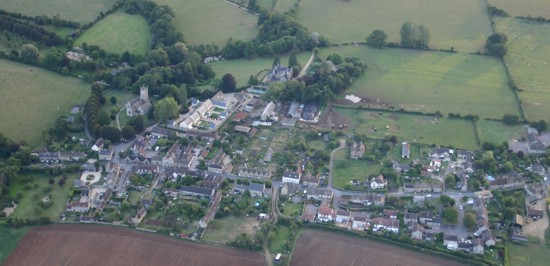 Aerial view of Kington St Michael and the church 2005