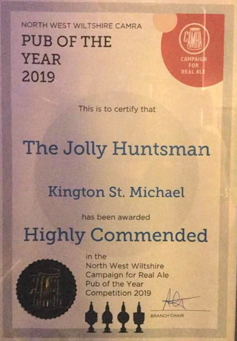 CAMRA Highly Commended Award 2019